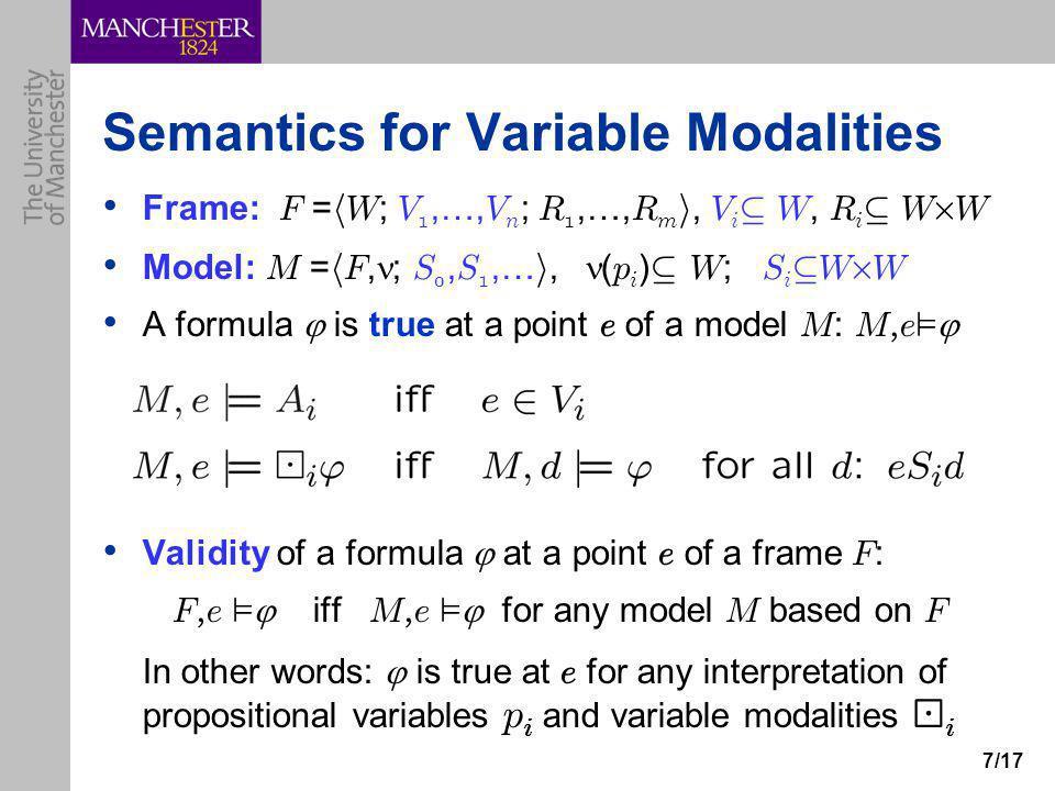 7/17 Semantics for Variable Modalities Frame: F = h W ; V 1,…, V n ; R 1,…, R m i, V i µ W, R i µ W £ W Model: M = h F, ; S 0, S 1,… i, ( p i ) µ W ;