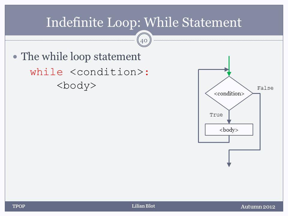 Lilian Blot Indefinite Loop: While Statement The while loop statement while : Autumn 2012 TPOP 40 False True