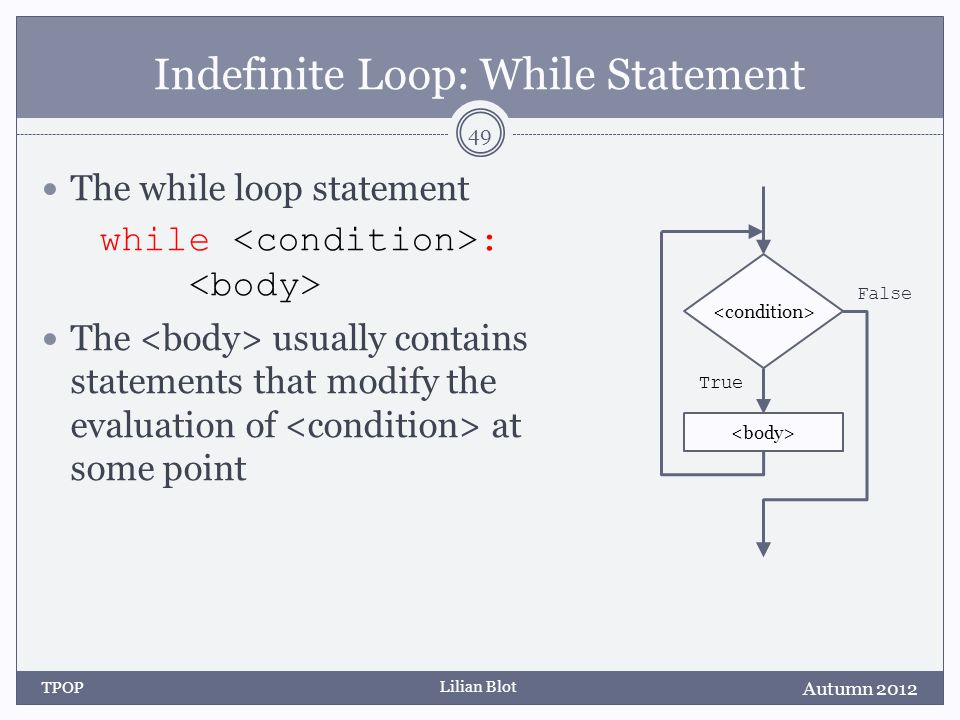 Lilian Blot Indefinite Loop: While Statement The while loop statement while : The usually contains statements that modify the evaluation of at some po