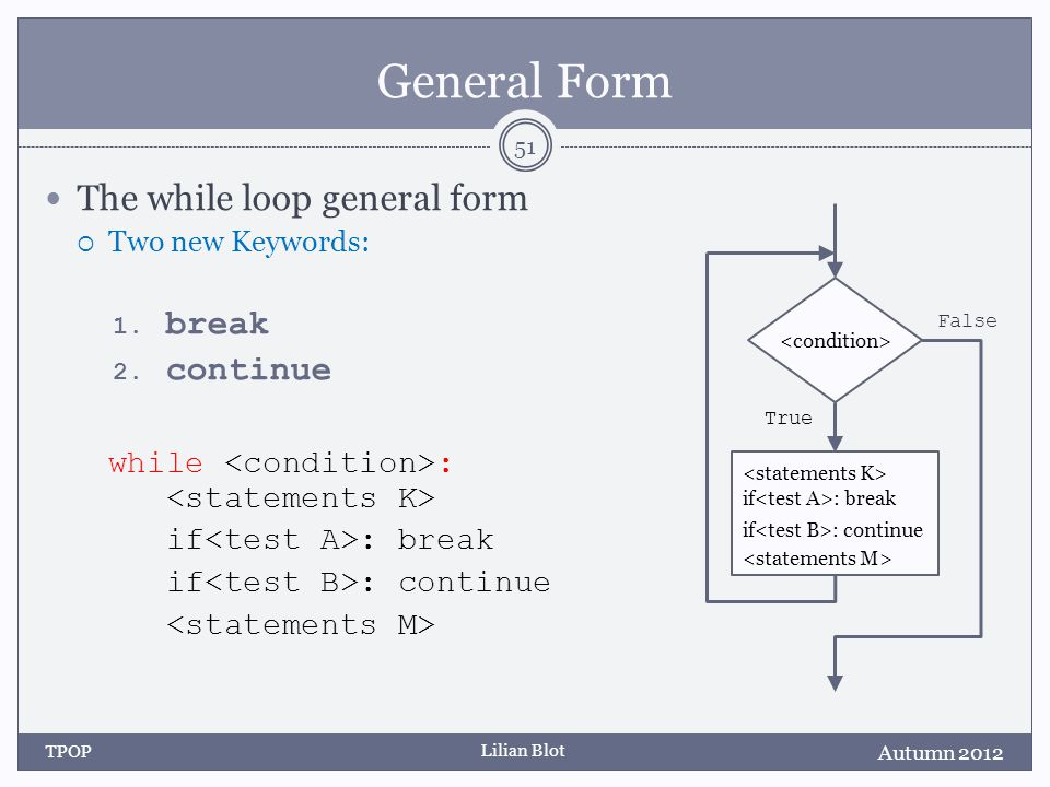 Lilian Blot General Form The while loop general form  Two new Keywords: 1.