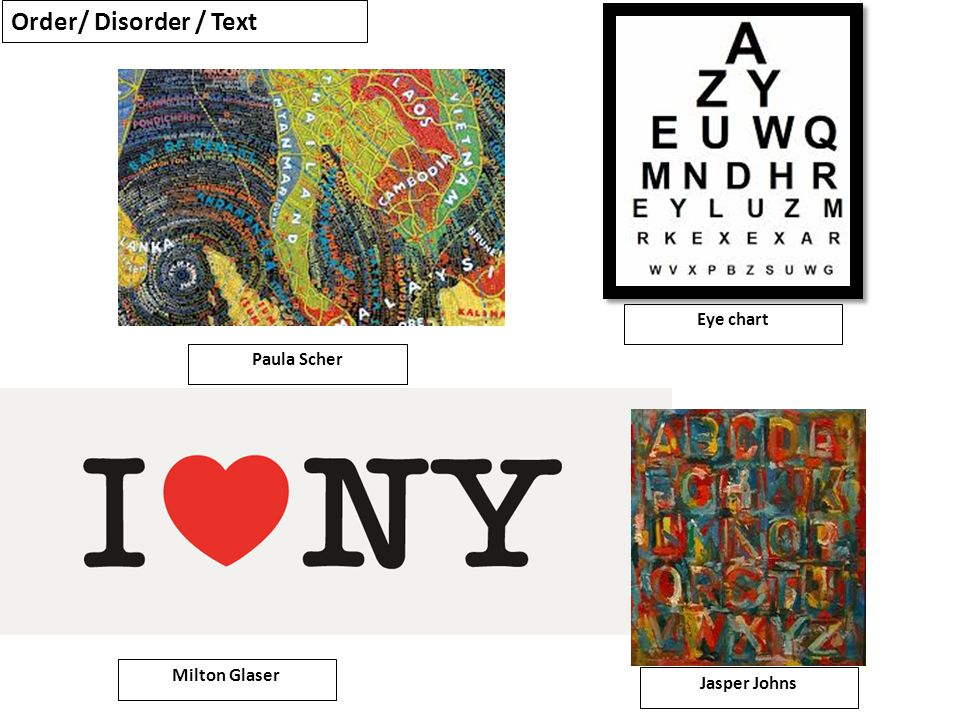 Paula Scher Eye chart Milton Glaser Jasper Johns Order/ Disorder / Text