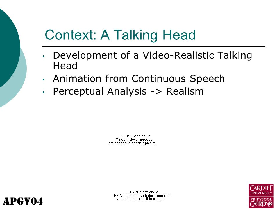 APGV04 Context: A Talking Head Development of a Video-Realistic Talking Head Animation from Continuous Speech Perceptual Analysis -> Realism