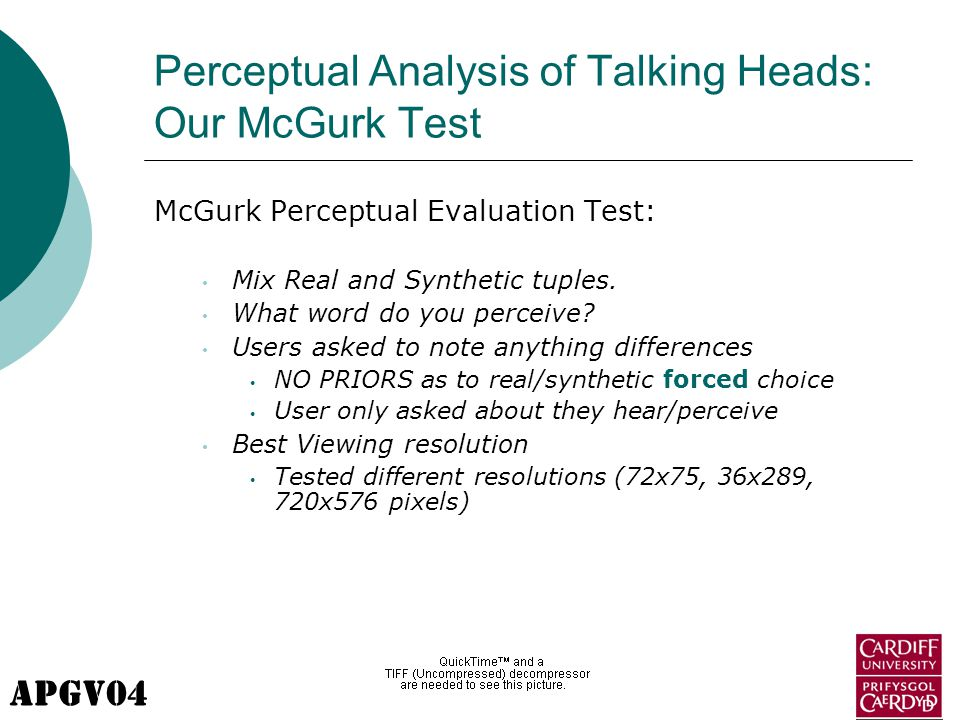 APGV04 Perceptual Analysis of Talking Heads: Our McGurk Test McGurk Perceptual Evaluation Test: Mix Real and Synthetic tuples.