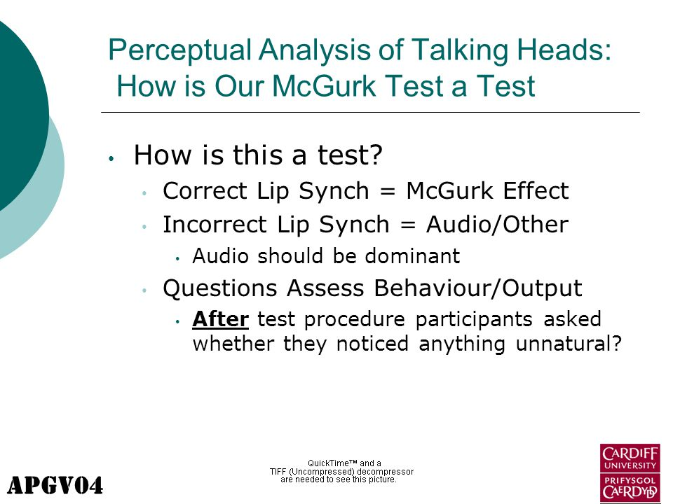 APGV04 Perceptual Analysis of Talking Heads: How is Our McGurk Test a Test How is this a test? Correct Lip Synch = McGurk Effect Incorrect Lip Synch =