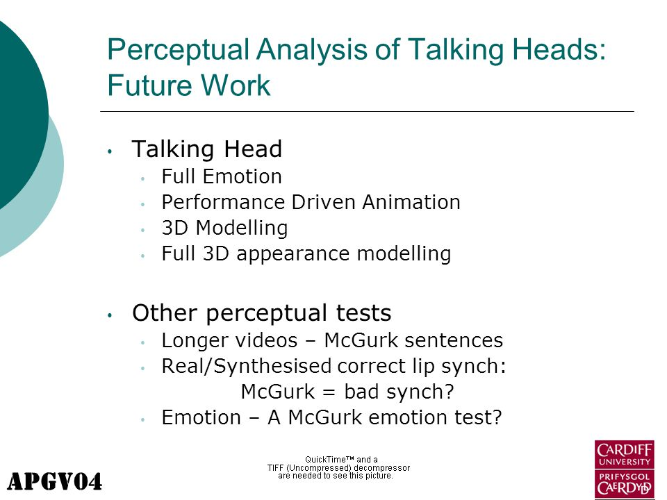 APGV04 Perceptual Analysis of Talking Heads: Future Work Talking Head Full Emotion Performance Driven Animation 3D Modelling Full 3D appearance modelling Other perceptual tests Longer videos – McGurk sentences Real/Synthesised correct lip synch: McGurk = bad synch.