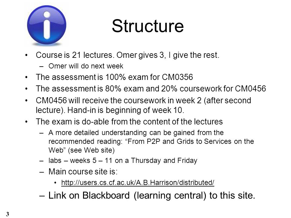 Structure Course is 21 lectures. Omer gives 3, I give the rest. –Omer will do next week The assessment is 100% exam for CM0356 The assessment is 80% e