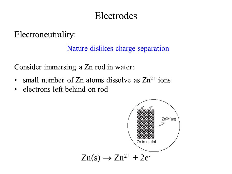 Electrodes Electroneutrality: Nature dislikes charge separation Consider immersing a Zn rod in water: small number of Zn atoms dissolve as Zn 2+ ions