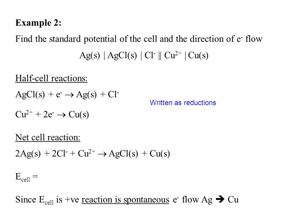 Example 2: Find the standard potential of the cell and the direction of e - flow Ag(s) | AgCl(s) | Cl - || Cu 2+ | Cu(s) Half-cell reactions: AgCl(s)