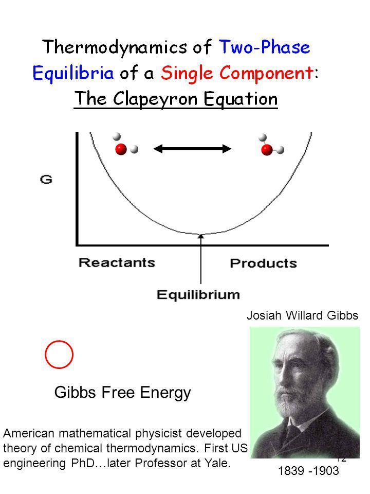 12 1839 -1903 Josiah Willard Gibbs Gibbs Free Energy American mathematical physicist developed theory of chemical thermodynamics. First US engineering