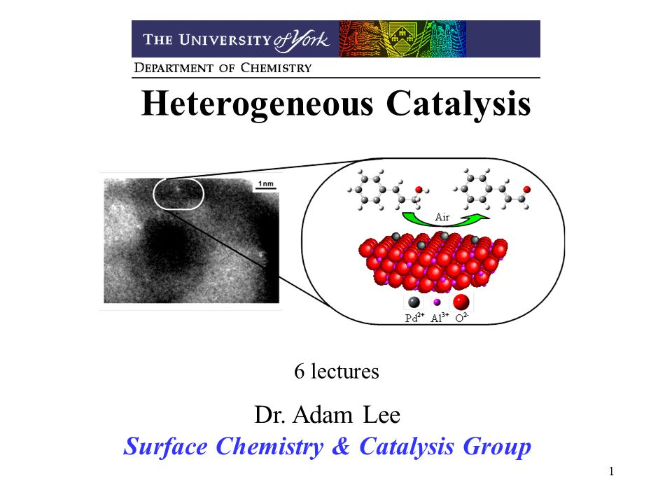 1 Heterogeneous Catalysis 6 lectures Dr. Adam Lee Surface Chemistry & Catalysis Group