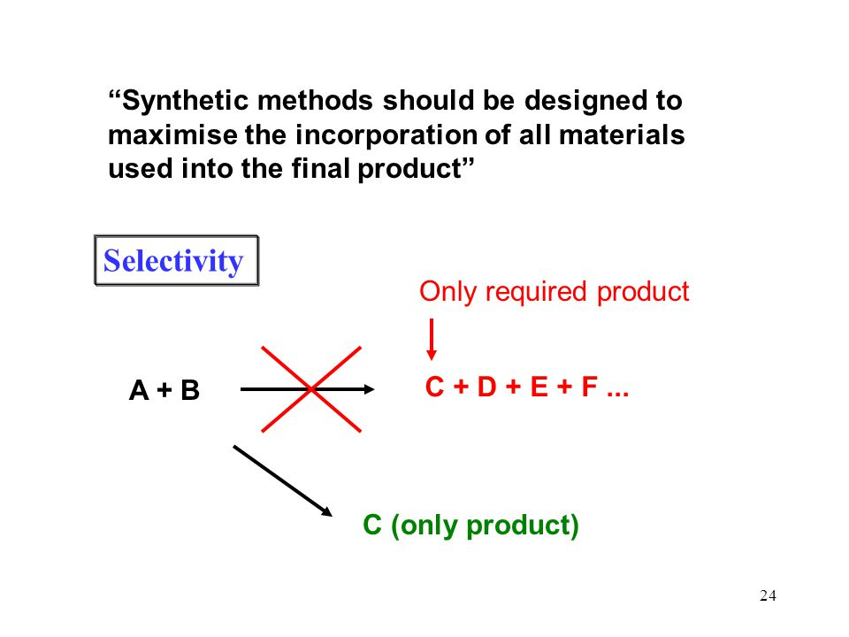 "24 ""Synthetic methods should be designed to maximise the incorporation of all materials used into the final product"" A + B C + D + E + F... Only requi"
