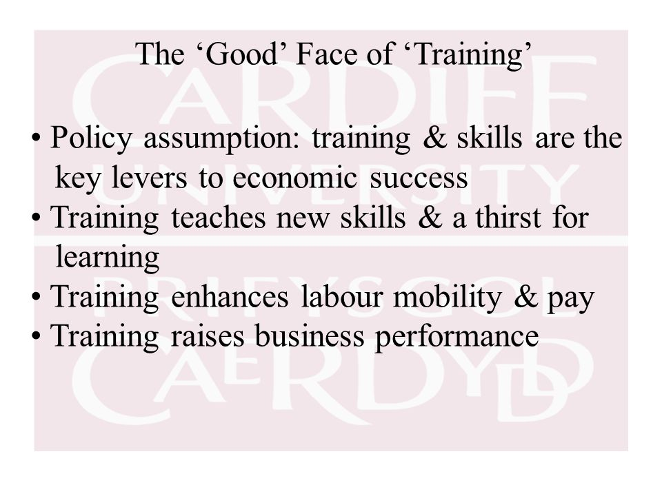 The 'Good' Face of 'Training' Policy assumption: training & skills are the key levers to economic success Training teaches new skills & a thirst for learning Training enhances labour mobility & pay Training raises business performance