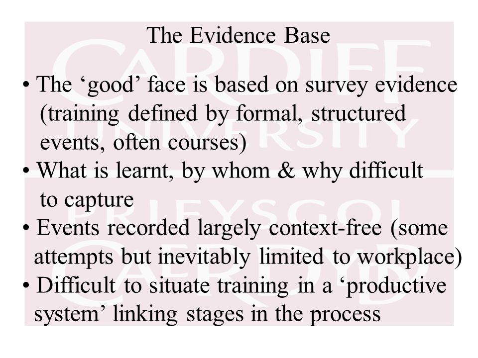 The Evidence Base The 'good' face is based on survey evidence (training defined by formal, structured events, often courses) What is learnt, by whom & why difficult to capture Events recorded largely context-free (some attempts but inevitably limited to workplace) Difficult to situate training in a 'productive system' linking stages in the process