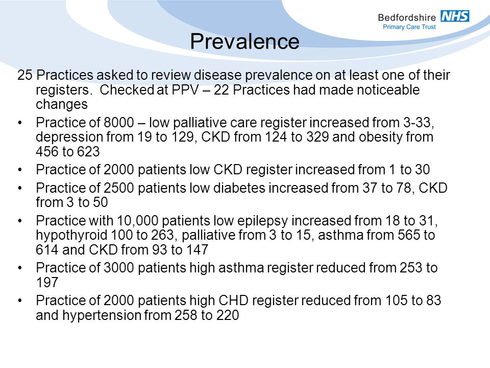 Prevalence 25 Practices asked to review disease prevalence on at least one of their registers.