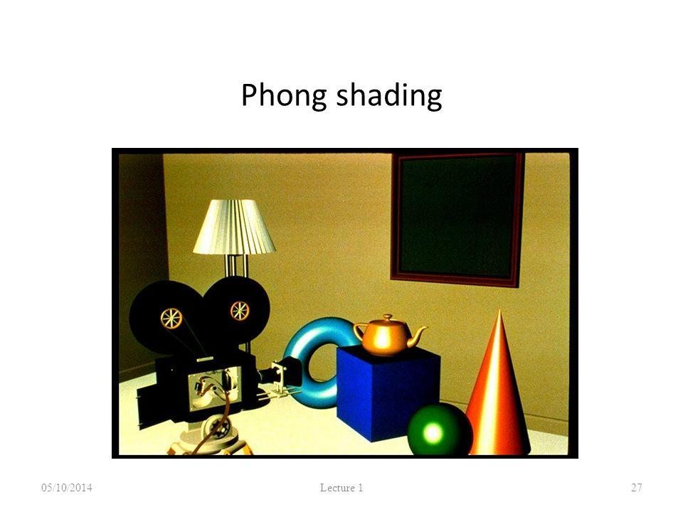 Phong shading 05/10/2014 Lecture 1 27