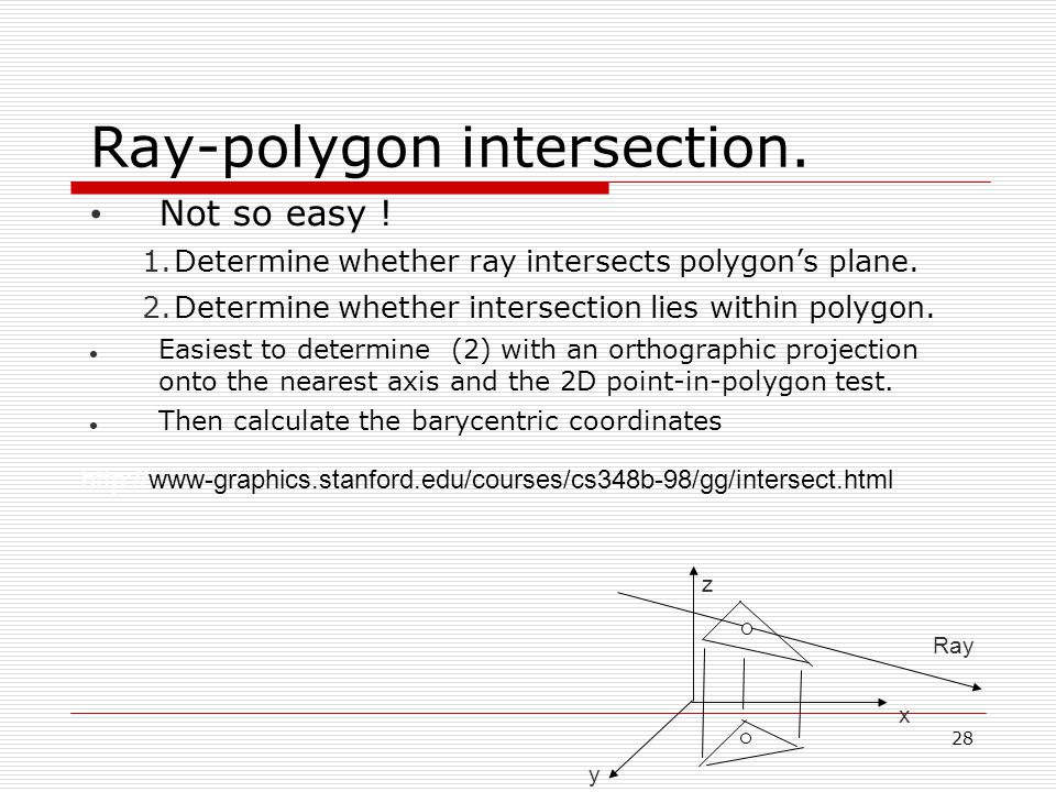28 05/10/2014 Ray-polygon intersection. Not so easy .
