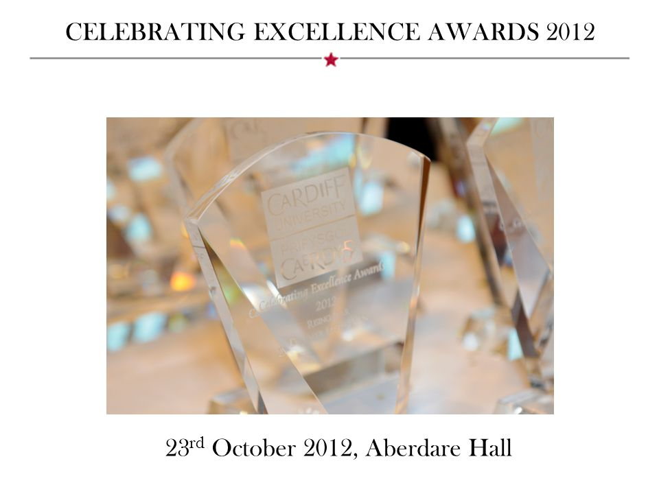 CELEBRATING EXCELLENCE AWARDS 2012 Hosted by Professor Elizabeth Treasure