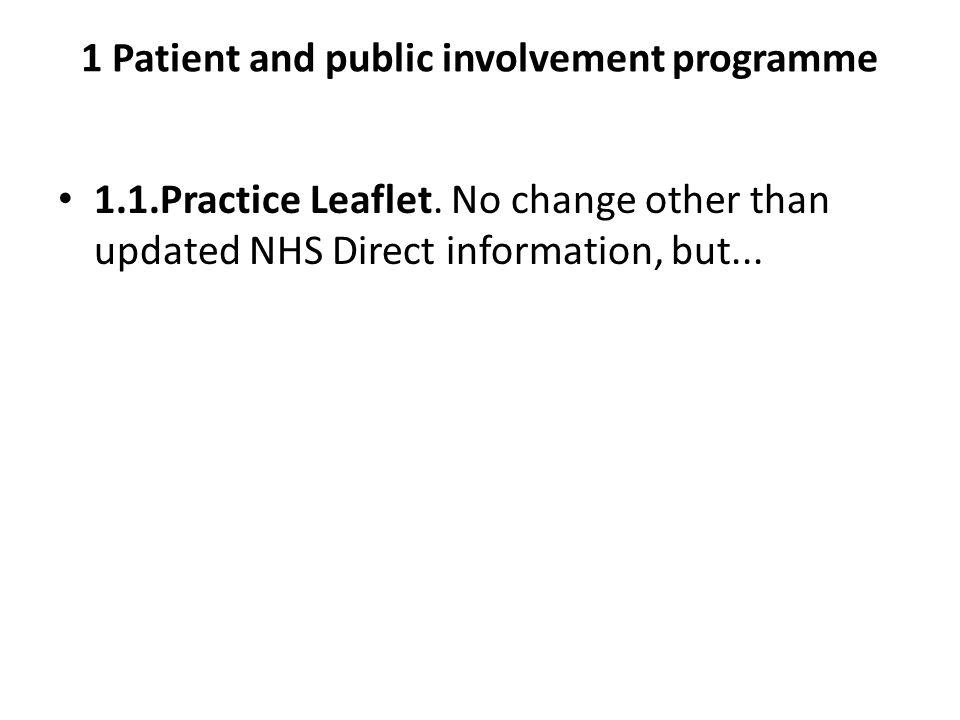 1 Patient and public involvement programme 1.1.Practice Leaflet.