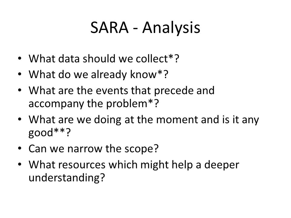 SARA - Analysis What data should we collect*. What do we already know*.