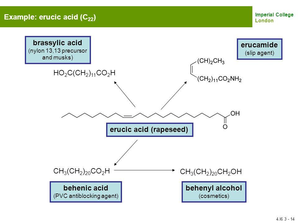 Imperial College London Example: erucic acid (C 22 ) CH 3 (CH 2 ) 20 CO 2 H CH 3 (CH 2 ) 20 CH 2 OH HO 2 C(CH 2 ) 11 CO 2 H erucic acid (rapeseed) eru