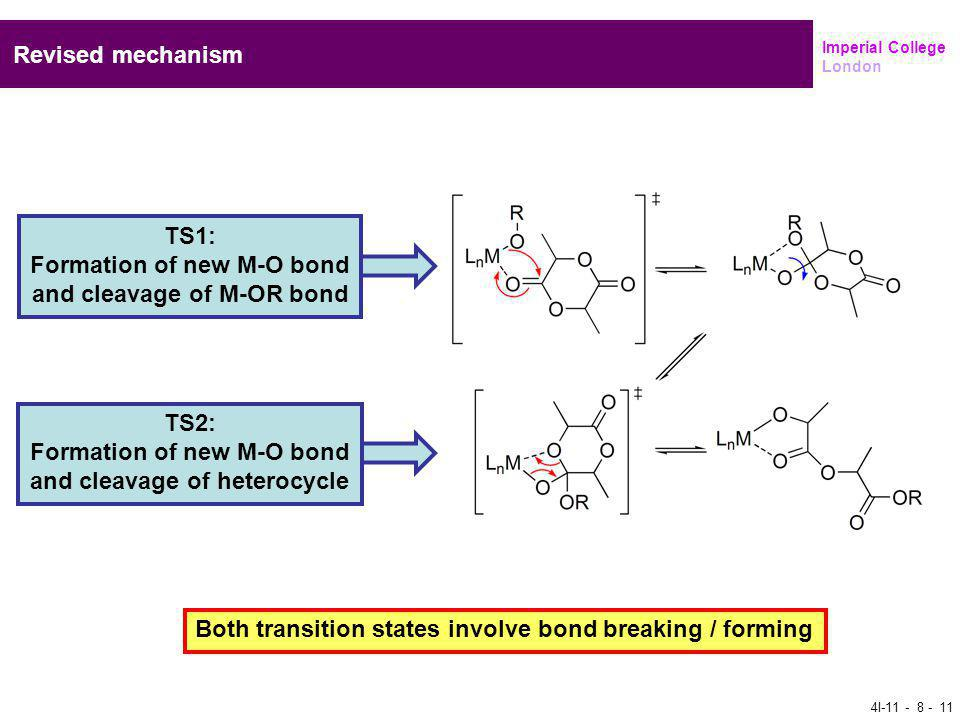 Imperial College London Revised mechanism TS1: Formation of new M-O bond and cleavage of M-OR bond TS2: Formation of new M-O bond and cleavage of heterocycle Both transition states involve bond breaking / forming 4I-11 - 8 - 11
