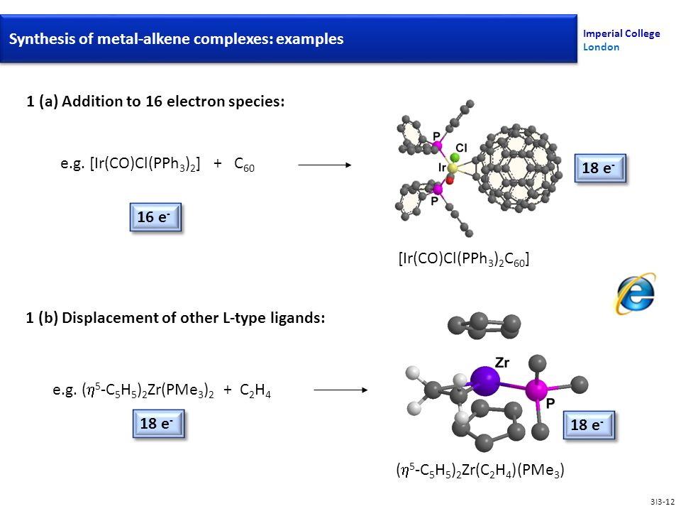 Synthesis Of Metal-Alkene Complexes Imperial College London 1 (a) Addition to 16 electron species: e.g.