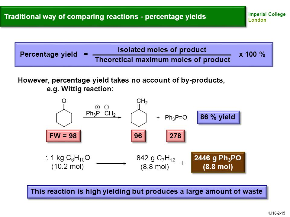 Imperial College London Traditional way of comparing reactions - percentage yields Isolated moles of product Theoretical maximum moles of product Percentage yield =x 100 % However, percentage yield takes no account of by-products, e.g.