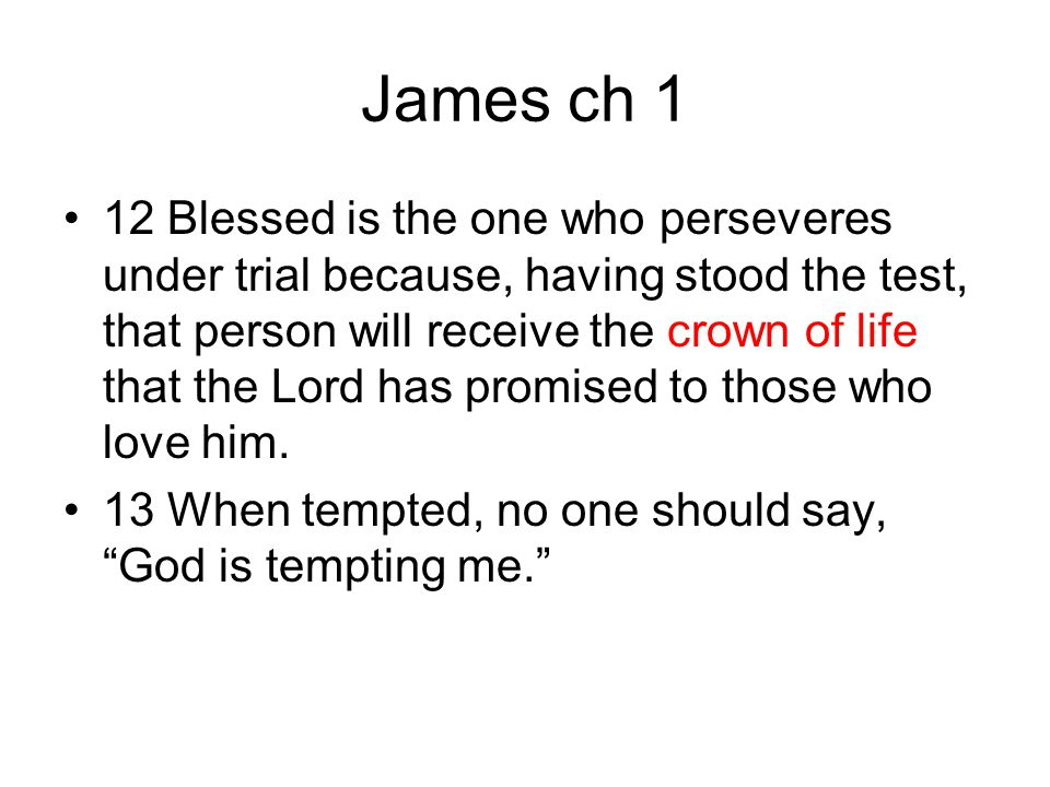 James ch 1 12 Blessed is the one who perseveres under trial because, having stood the test, that person will receive the crown of life that the Lord h