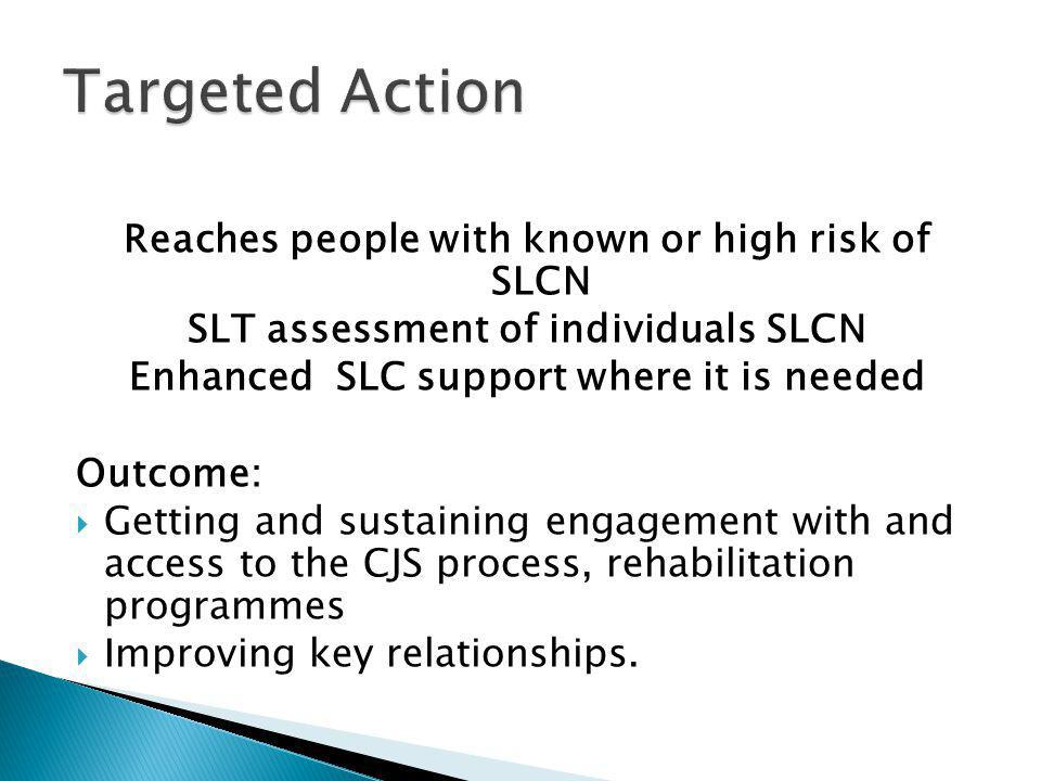 Reaches people with known or high risk of SLCN SLT assessment of individuals SLCN Enhanced SLC support where it is needed Outcome:  Getting and sustaining engagement with and access to the CJS process, rehabilitation programmes  Improving key relationships.