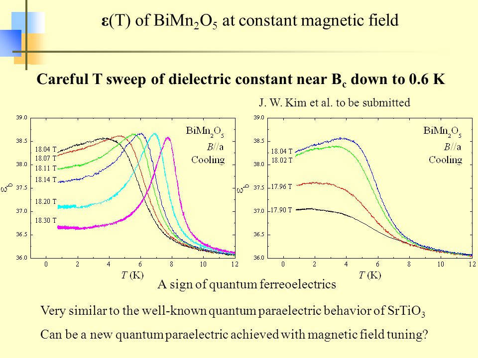 ε(T) of BiMn 2 O 5 at constant magnetic field Careful T sweep of dielectric constant near B c down to 0.6 K Very similar to the well-known quantum paraelectric behavior of SrTiO 3 Can be a new quantum paraelectric achieved with magnetic field tuning.