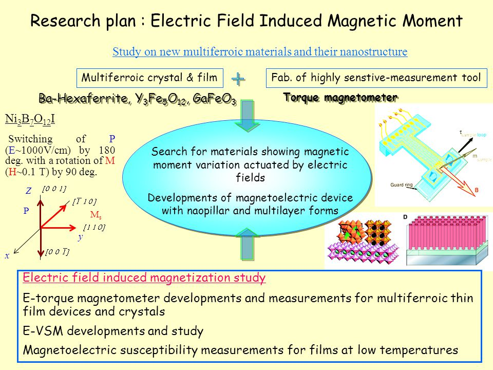 Research plan : Electric Field Induced Magnetic Moment Electric field induced magnetization study E-torque magnetometer developments and measurements for multiferroic thin film devices and crystals E-VSM developments and study Magnetoelectric susceptibility measurements for films at low temperatures Study on new multiferroic materials and their nanostructure Search for materials showing magnetic moment variation actuated by electric fields Developments of magnetoelectric device with naopillar and multilayer forms Ba-Hexaferrite, Y 3 Fe 5 O 12, GaFeO 3 Multiferroic crystal & filmFab.