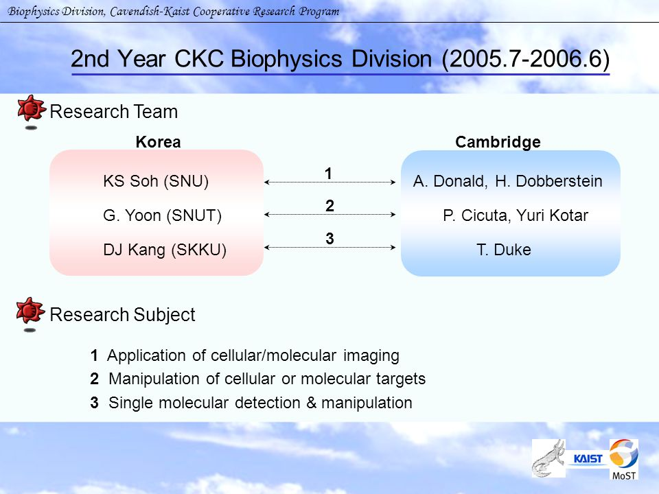 2nd Year CKC Biophysics Division (2005.7-2006.6) Research Team Korea Cambridge KS Soh (SNU) G.