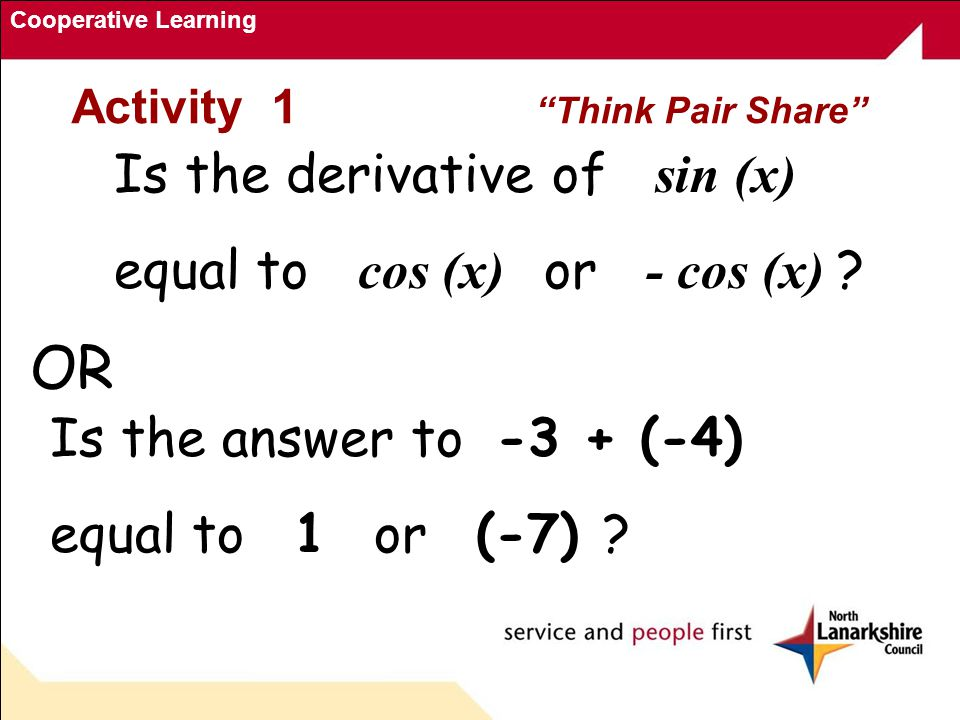 Cooperative Learning Activity 1 Think Pair Share Is the derivative of sin (x) equal to cos (x) or - cos (x) .