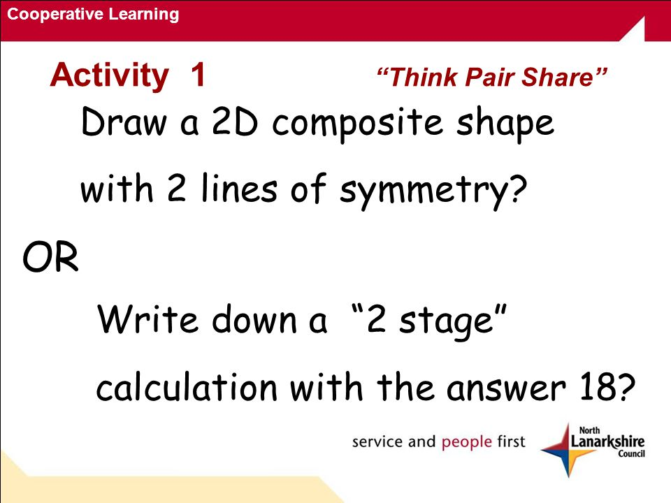 Cooperative Learning Activity 1 Think Pair Share Draw a 2D composite shape with 2 lines of symmetry.
