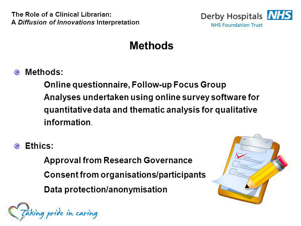 Methods Methods: Online questionnaire, Follow-up Focus Group Analyses undertaken using online survey software for quantitative data and thematic analysis for qualitative information.