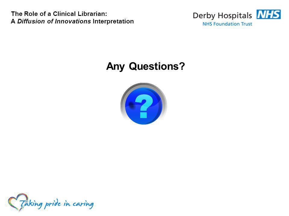 The Role of a Clinical Librarian: A Diffusion of Innovations Interpretation Any Questions?