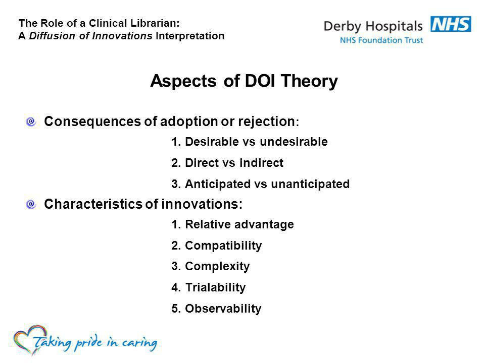 The Role of a Clinical Librarian: A Diffusion of Innovations Interpretation Aspects of DOI Theory Consequences of adoption or rejection : 1.