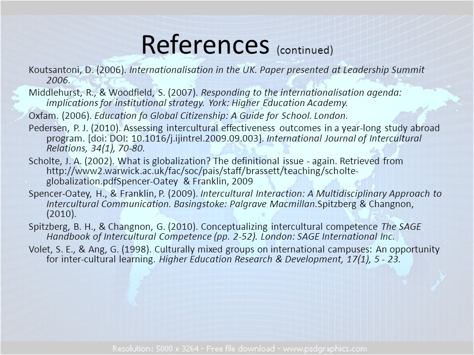 References (continued) Koutsantoni, D. (2006). Internationalisation in the UK.