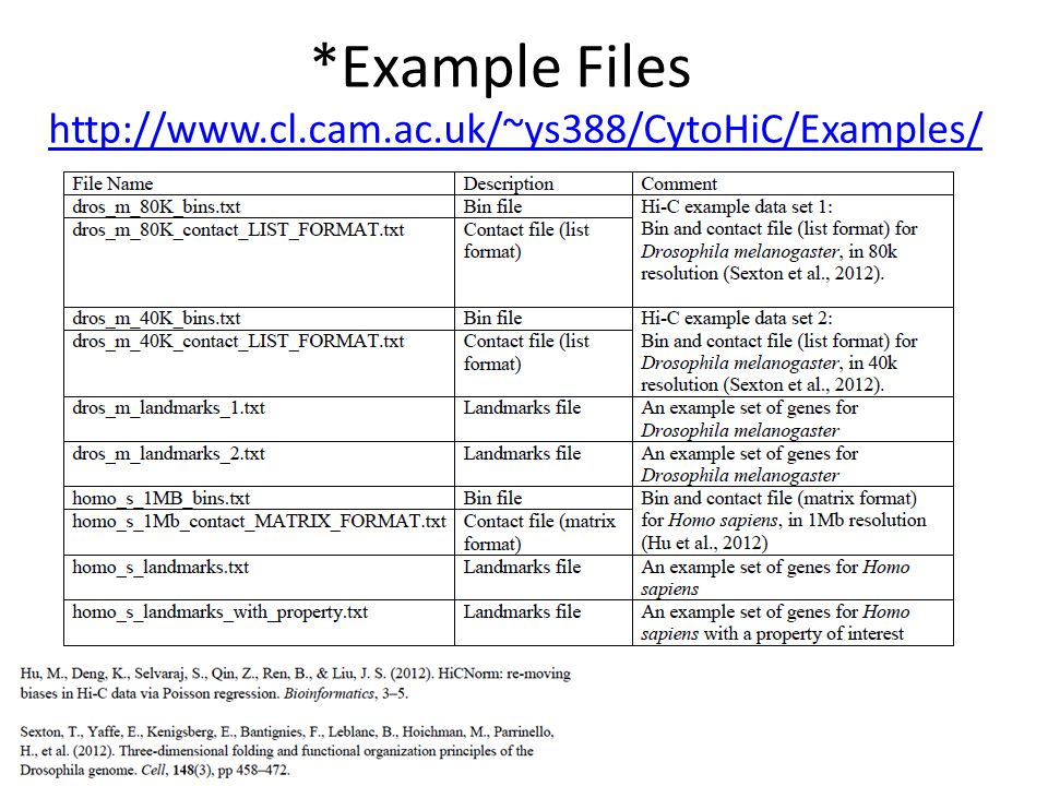 *Example Files http://www.cl.cam.ac.uk/~ys388/CytoHiC/Examples/