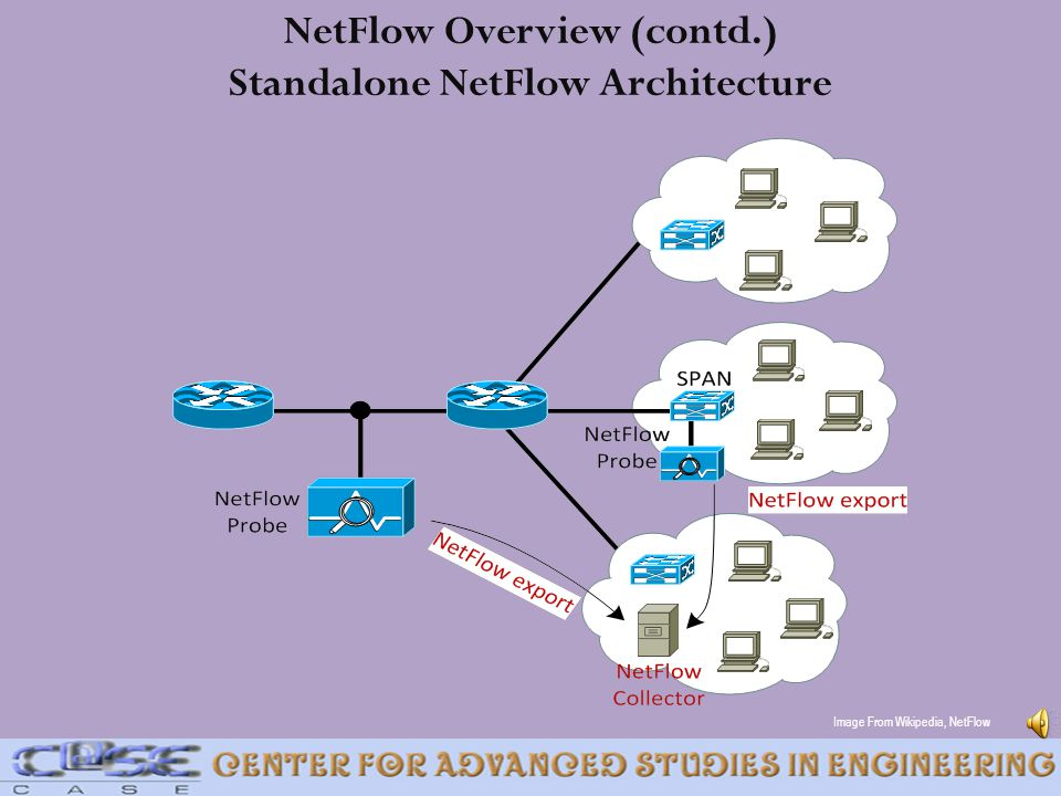NetFlow Overview (contd.) Standalone NetFlow Architecture Image From Wikipedia, NetFlow