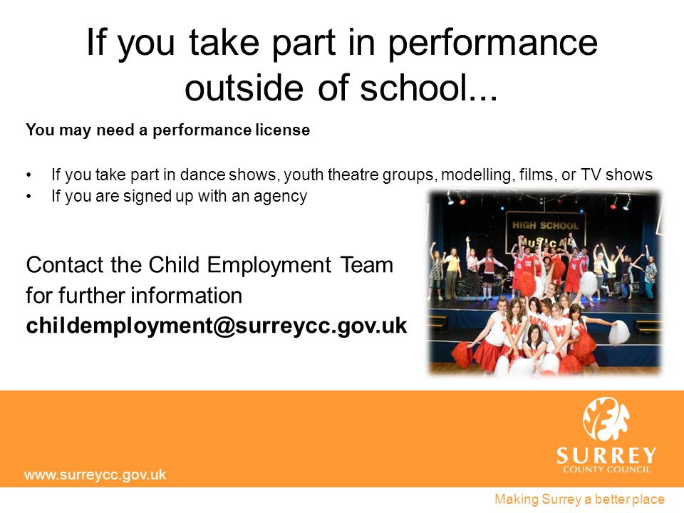 If you take part in performance outside of school...