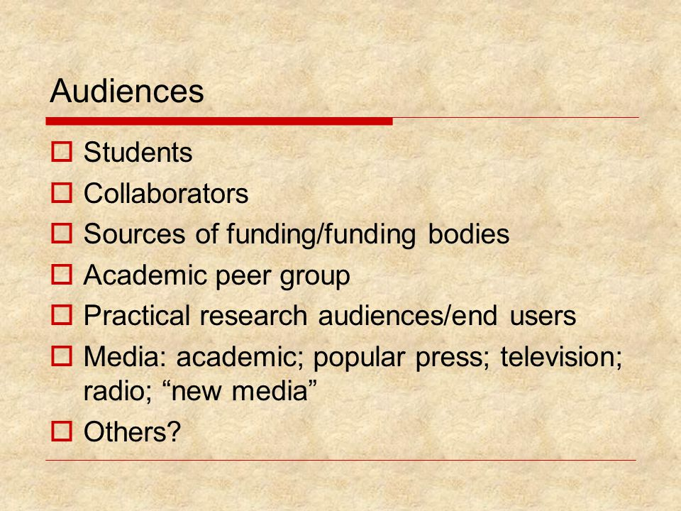 Audiences  Students  Collaborators  Sources of funding/funding bodies  Academic peer group  Practical research audiences/end users  Media: academic; popular press; television; radio; new media  Others