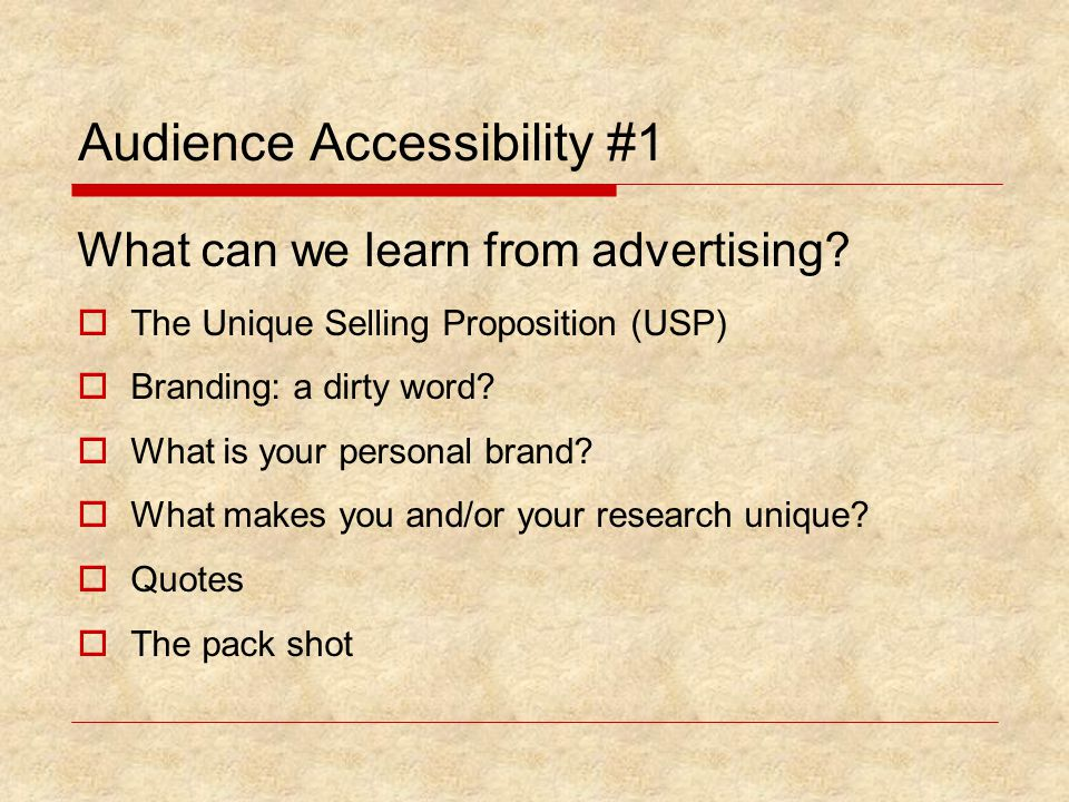 Audience Accessibility #1 What can we learn from advertising.