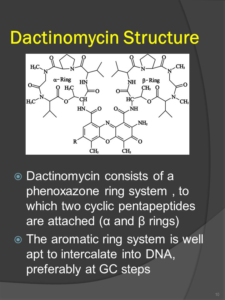 Dactinomycin Structure 10  Dactinomycin consists of a phenoxazone ring system, to which two cyclic pentapeptides are attached (α and β rings)  The aromatic ring system is well apt to intercalate into DNA, preferably at GC steps