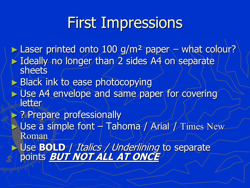 First Impressions ► Laser printed onto 100 g/m² paper – what colour.