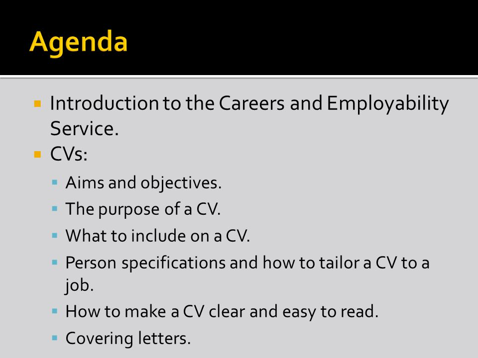  Introduction to the Careers and Employability Service.