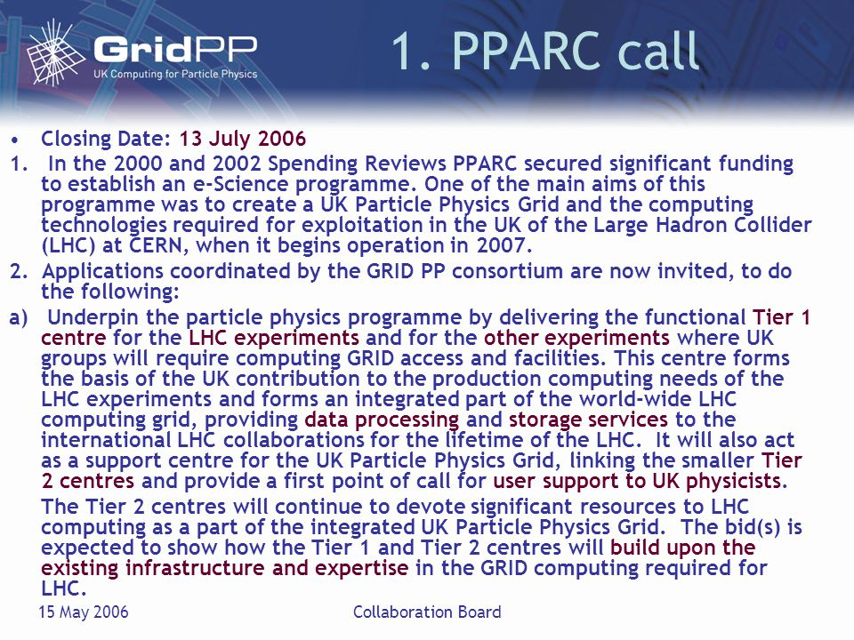 15 May 2006Collaboration Board 1. PPARC call Closing Date: 13 July 2006 1.