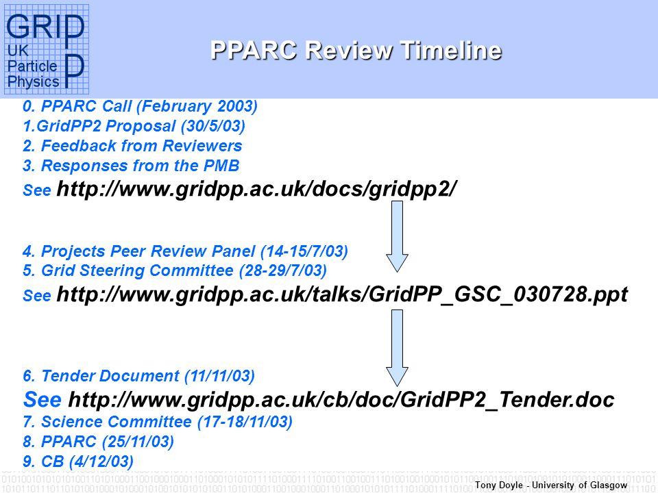 Tony Doyle - University of Glasgow PPARC Review Timeline 0.