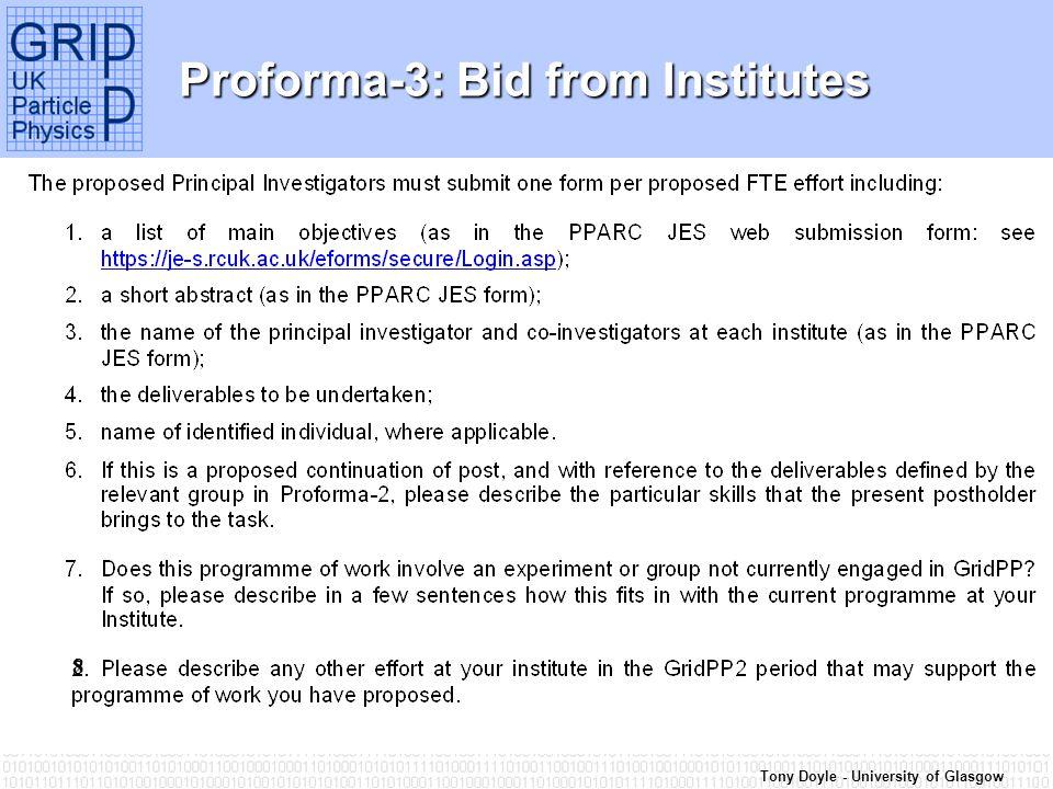 Tony Doyle - University of Glasgow Proforma-3: Bid from Institutes 8