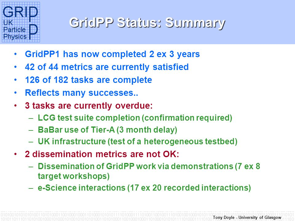 Tony Doyle - University of Glasgow GridPP Status: Summary GridPP1 has now completed 2 ex 3 years 42 of 44 metrics are currently satisfied 126 of 182 tasks are complete Reflects many successes..